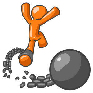 Orange Man Jumping For Joy While Breaking Away From a Ball and Chain, Getting a Divorce, Consolidating or Paying Off Debt Clipart Illustration